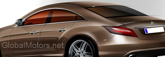 2011 mercedes benz cls illustration spy shot rendering 540x189 2011 Mercedes Benz CLS computer illustration
