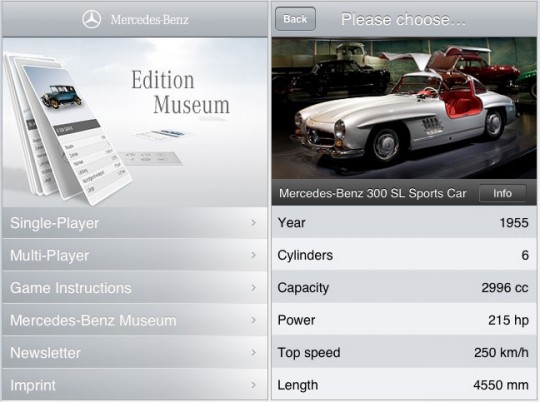 mercedes benz iphone ipod top trumps game 540x402 Mercedes Benz releases iPhone game   Top Trumps