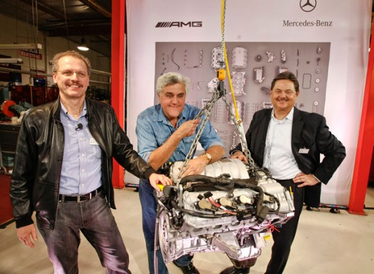 mercedes benz jay leno engine sls gullwing 540x396 Jay Leno receives brand new 6.2l V8 for his vintage 300SEL