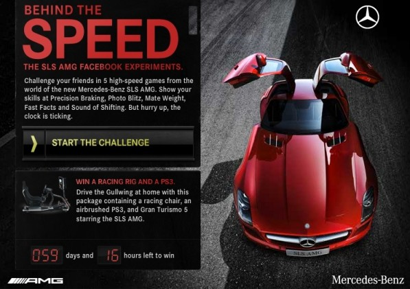 mercedes benz SLS amg facebook app game 597x421 Mercedes Benz SLS AMG game now on Facebook