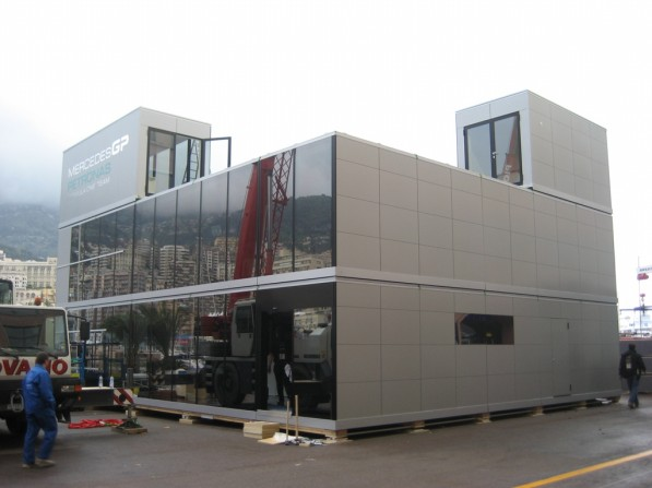 mercedes gp brought new eur2 million motorhome in monaco 20316 1 597x447 Mercedes Benz Unveils its 2 Million Euro Motorhome In Monaco