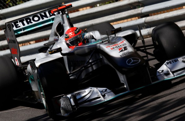 schumacher handed penalty for alonso pass 20492 1 597x391 Mercedes GP wont appeal for Schumacher penalty in Monaco