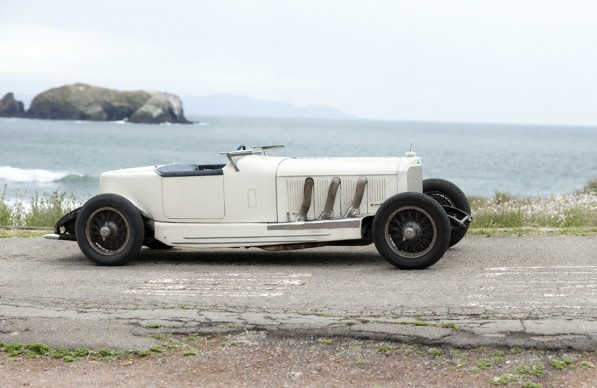 1927mercbenzsboattailspdstrside 597x388 2010 Pebble Beach Concours to Auction 1927 Mercedes Benz S Boat tail  Speedster