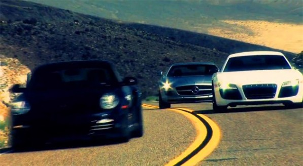 motor trend 630 597x328 Video: Motor Trend pits SLS AMG against fellow German super cars