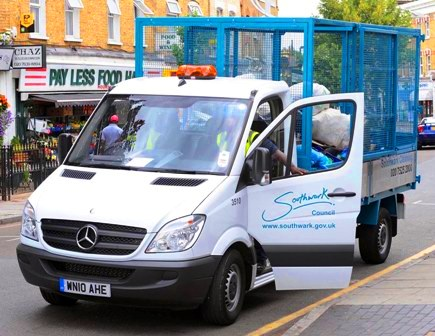 Southwark Council choose Mercedes Benz vans with Enhanced Environmentally friendly Vehicle standard 7259 Sprinter vans to clean up Southwark Borough in London