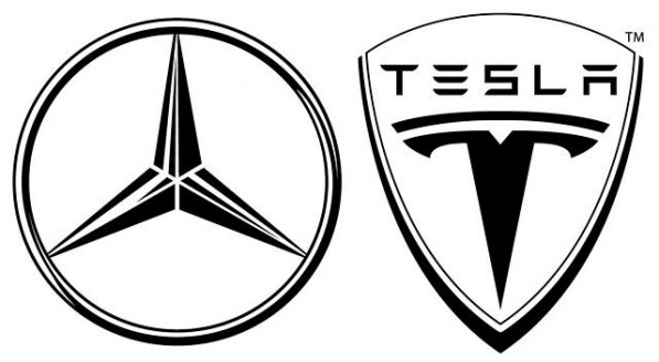 mercedes tesla logo c 1233x6792 597x328 Mercedes with Tesla Batteries to be Presented at Paris Motor Show