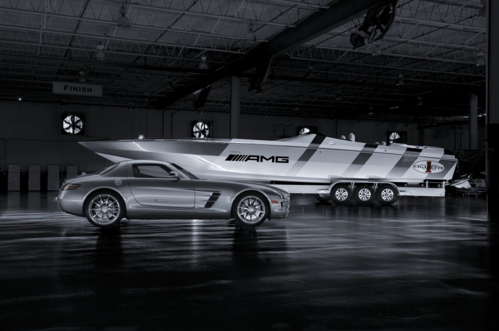 Mercedes-Benz SLS AMG and Cigarette Racing Boat