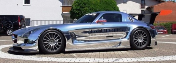 web630 slsamggt3c2 597x215 SLS AMG GT3 can't get enough chrome