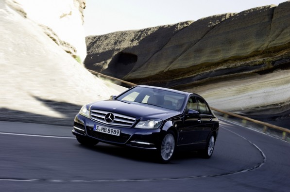 2012 C Class Sedan 01 medium 597x396 Official: 2012 Mercedes Benz C Class gets a facelift; four cylinder option