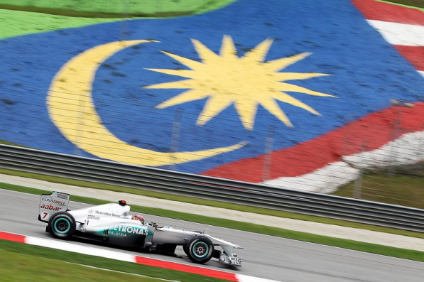 mercedes GP malaysia 597x397 Mercedes GP Petronas Starts 9th, 11th on Malaysian GP Grid