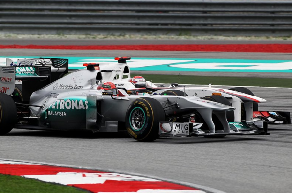 mercedes GP malaysia inrace 597x394 Schumacher Finishes in Points, Vettel Wins in Malaysian GP