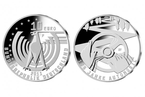 special coin and stamp celebrate 125 years of the automobile 34978 2 597x397 Commemorative stamp and coin for 125 years