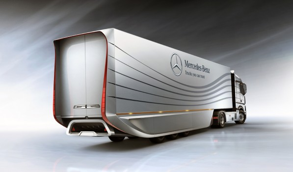 mercedes aero trailer concept increases semi fuel efficiency 40734 1 597x350 Concept for a Trailer? The Mercedes Aero Trailer