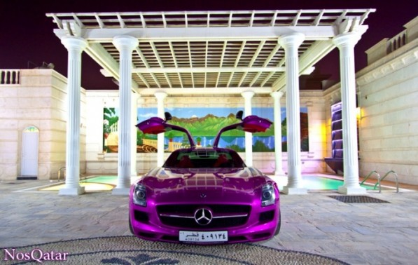 purple mercedes sls amg shines in qatar 40110 7 597x378 SLS In Purple Spotted In Qatar