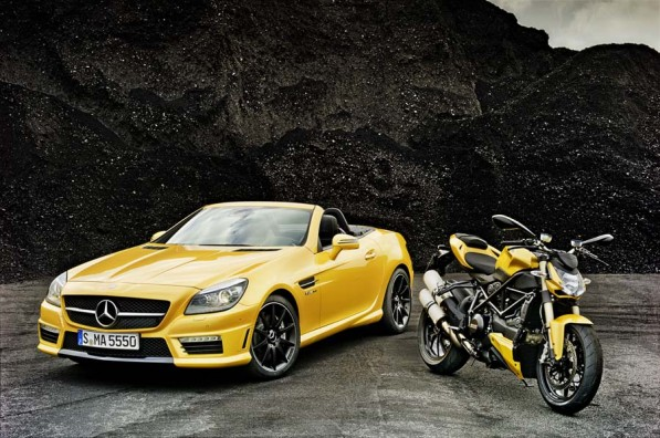 mercedes slk 55 amg ducati streetfighter 848 join forces photo gallery 1 597x396 New Mercedes/Ducati Pairing Paints A Pretty Picture
