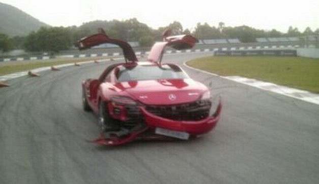 crash1 Journo Rearends SLS AMG With A C63 AMG