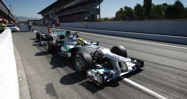 2012 SpanishGP practice 597x318 Schumacher, Rosberg with Strong Showing in Friday Practice