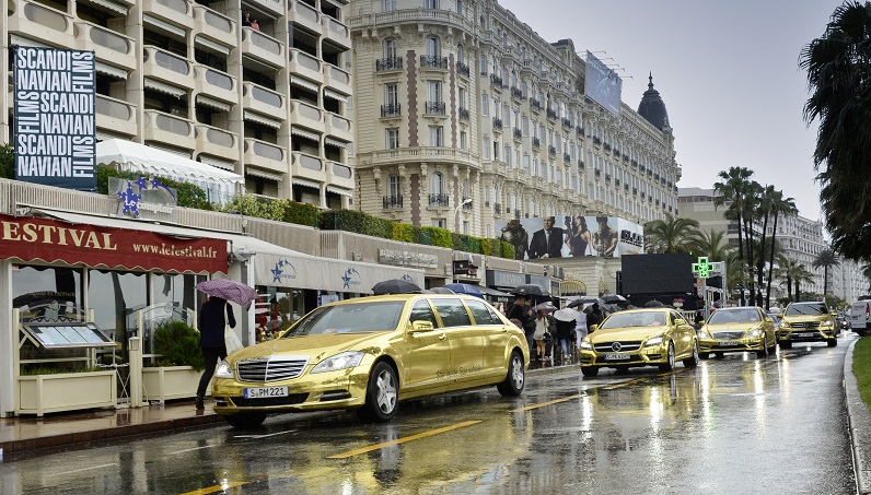 Merc at Cannes Golden Mercedes Fleet On Hand for Cannes