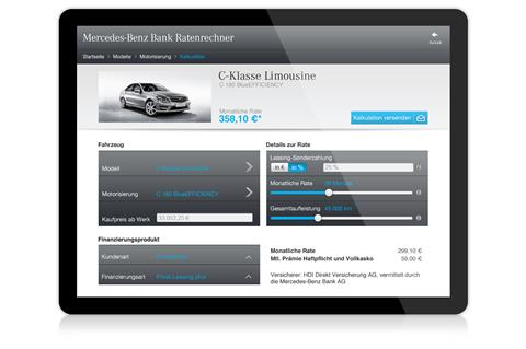 mobile rate calculator by mercedes benz bank