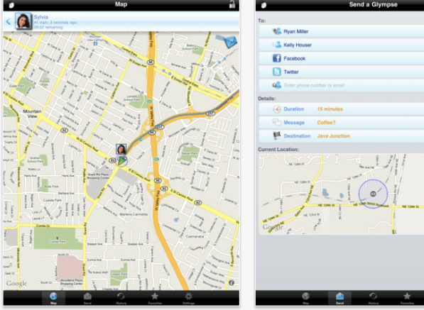 glympse 597x437 2013 A Class to Provide Real Time Location via Glympse App
