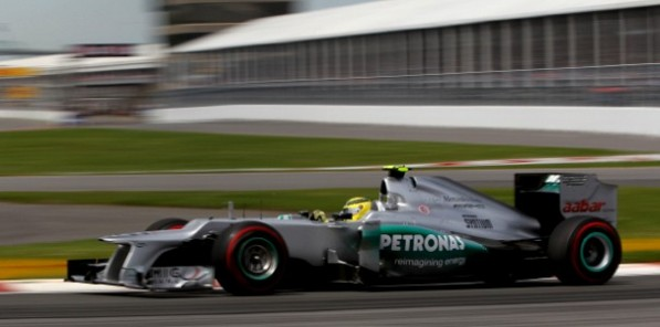mercedesf1 canadiangp race 597x296 F1: Rosberg Settles for 6th as Hamilton takes Canadian GP