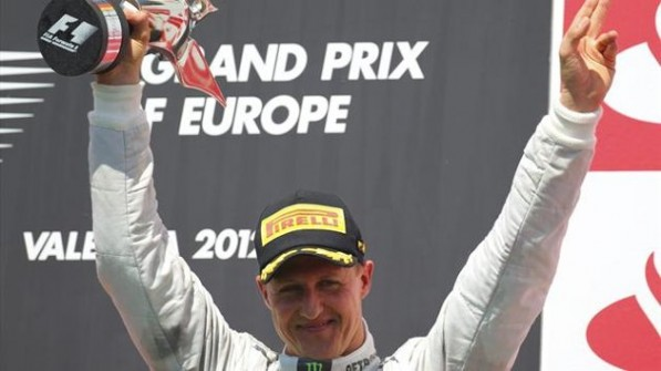 schumi podium europeanGP 597x335 F1: Schumacher Claims Podium Finish in European GP