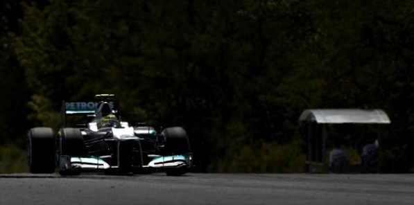 HungarianGP Nico Rosberg 597x296 2012 Hungarian Grand Prix: Hamilton Gets Pole as Mercedes Sputters in Qualifying
