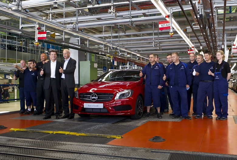 first new mercedes-benz a-class rolls off rastatt plant