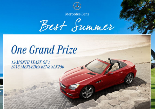 mercedes benz best summer 597x422 SLK 250 Lease Up for Grabs in Mercedes Benz USA's Best Summer Promo