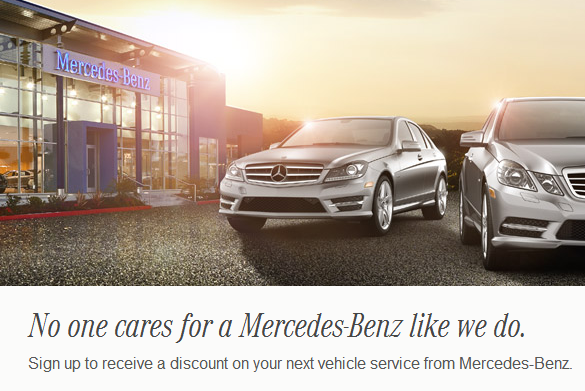 Sign up to receive service discount from mercedes benz usa for How much is service c for mercedes benz