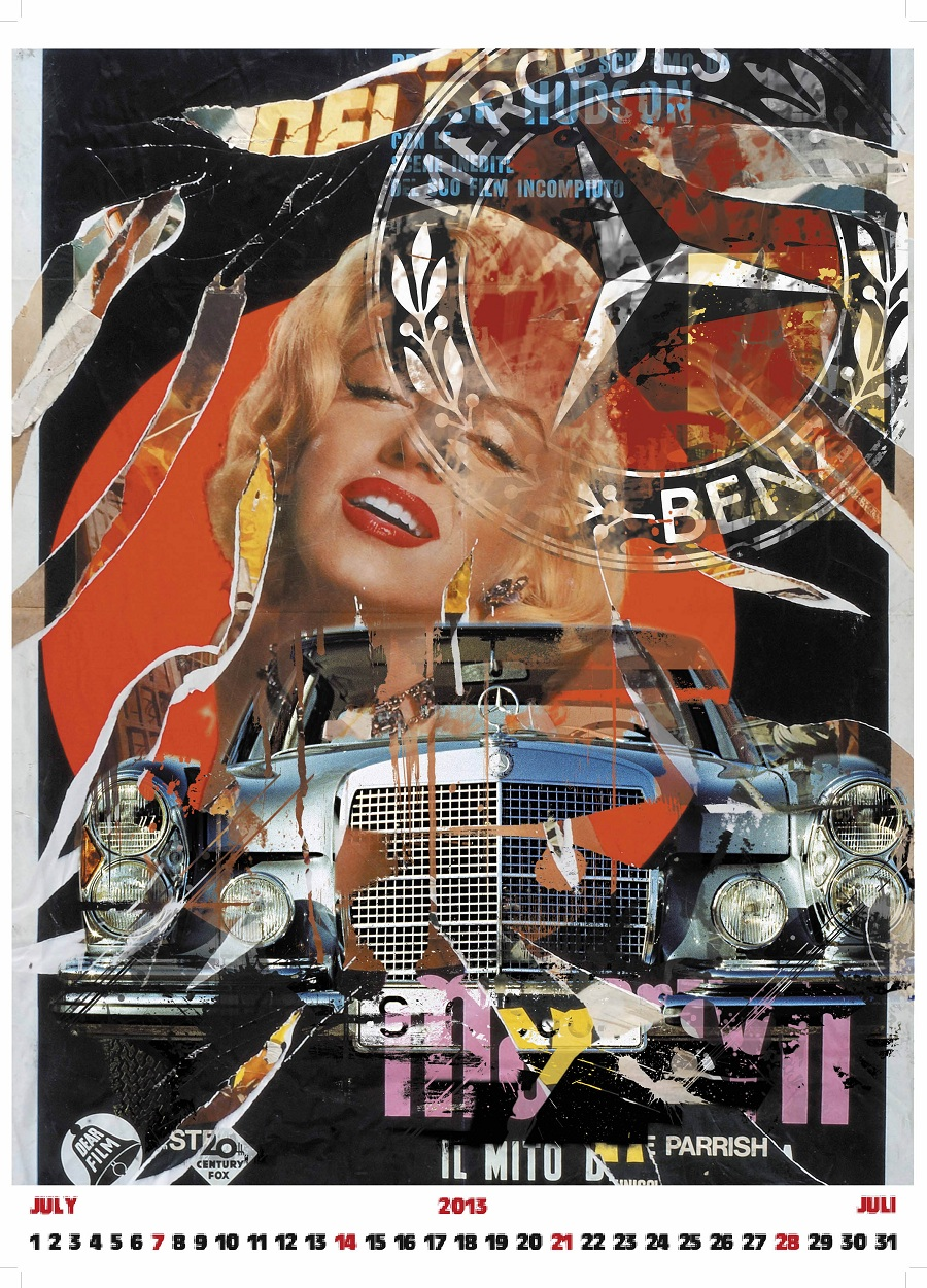 Mercedes benz classic calendar marries mimmo rotella art for Vintage mercedes benz posters