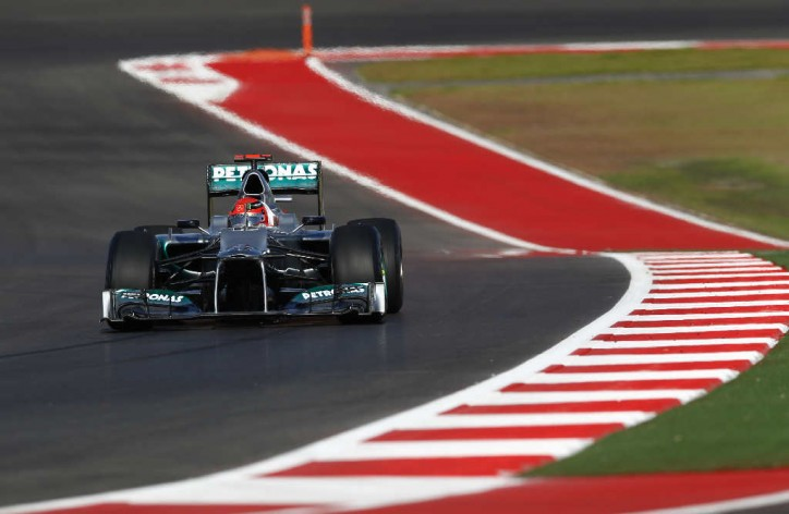 F1 Mercedes AMG Petronas Michael Schumacher US Grand Prix 724x472 F1: Schumi to Start in P5 at US Grand Prix