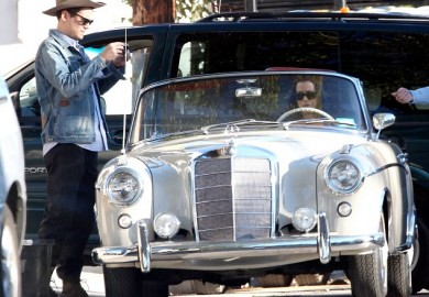 Katy Perry in a vintage Mercedes-Benz convertible with John Mayer