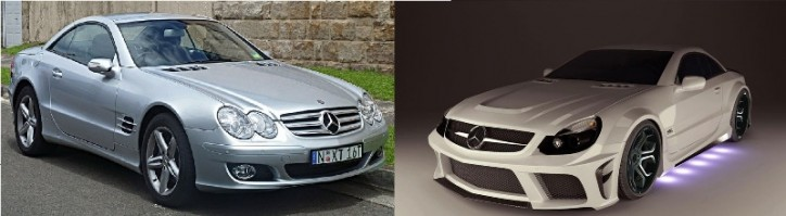 before and after 724x199 Mercedes Benz R320 SL Class: MEC Puts a Fresher Look on the Classic Model