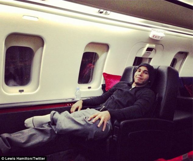 Hamilton's journey in his private jet.