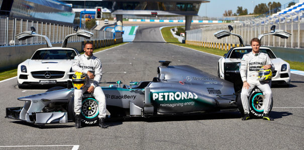 launch big Team Mercedes Benz Reveals the New Formula 1 Car