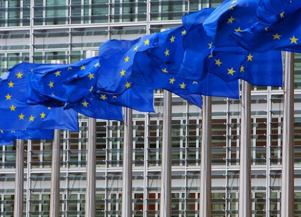 European Union flags are seen outside the European Commission headquarters in Brussels April 12, 200..