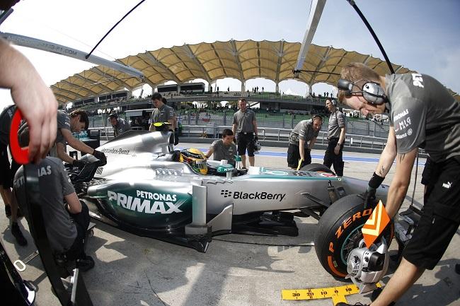 F1 Malaysian Grand Prix Lewis Hamilton Mercedes AMG Petronas Malaysian GP: Mercedes Hamilton P4, Rosberg P6 on Starting Grid