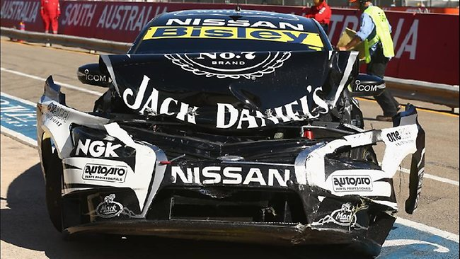 Todd Kelly's Nissan was totally messed up after the initiation.