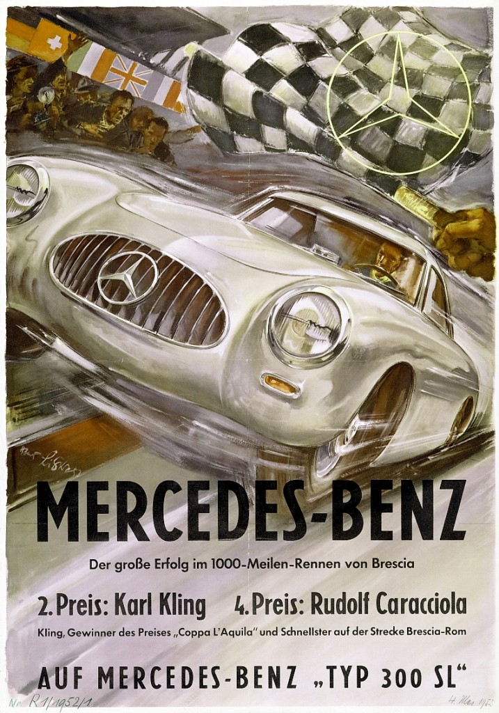 Mille Miglia, 1952.Rennsiegplakat von Hans Liska.