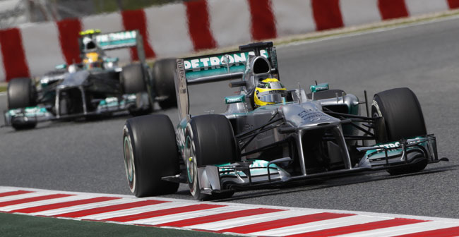 2013 Spanish Grand Prix Mercedes F1 Nico Rosberg Lewis Hamilton [F1] Mercedes Struggles in Spanish GP; Rosberg Finishes 6th as Alonso Wins