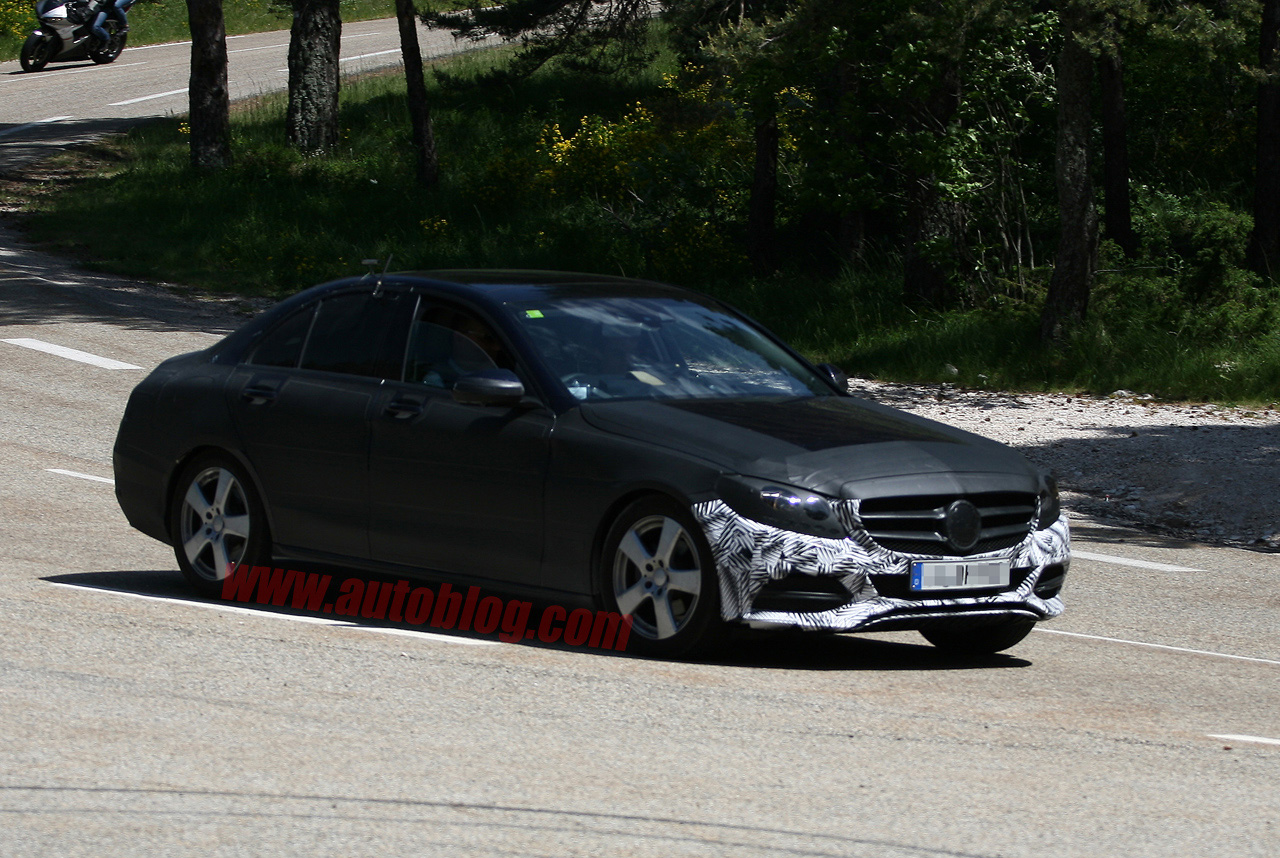 001 mercedes c class spy shots Next Generation C Class Spotted Again with Less Camo