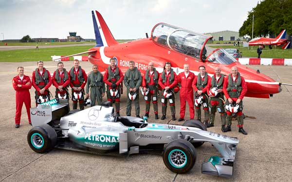 Lewis Hamilton with Royal Air Force Red Arrows Lewis Hamilton has Literal Flying Lap with RAF Red Arrows