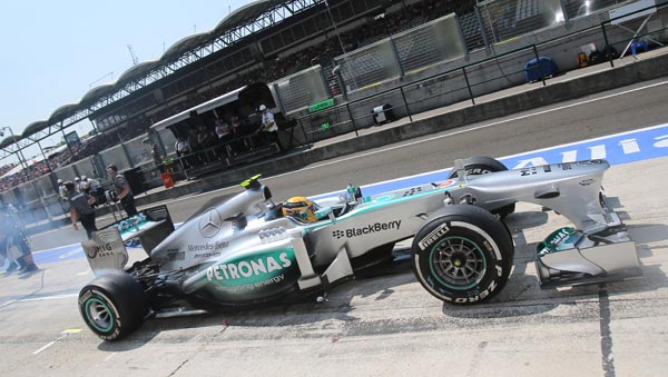 Mercedes-F1-Lewis-Hamilton-at-End-of-Qualifying-for-2013-Hungarian-Grand-Prix