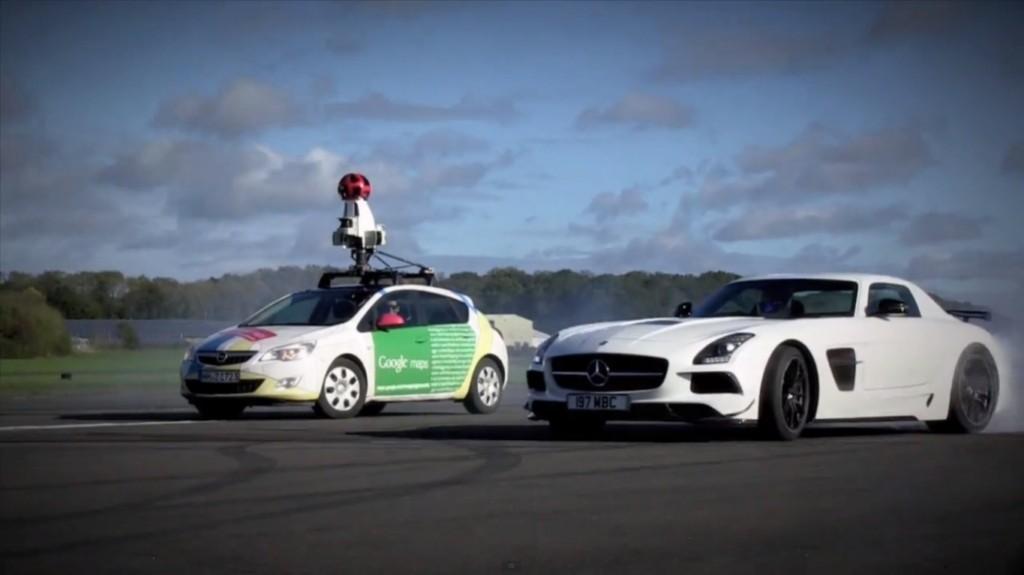The Stig Runs Circles Around Google Street View Car With Mercedes-Benz SLS AMG Coupe