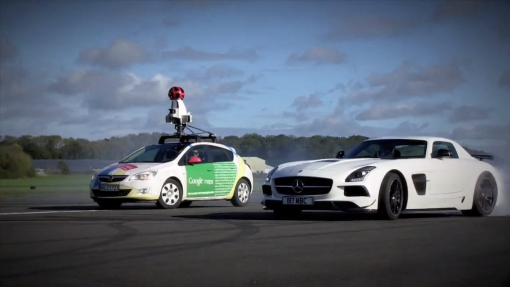 2 The Stig Runs Circles Around Google Street View Car With Mercedes Benz SLS AMG Coupe