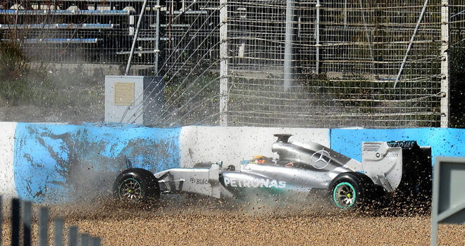 Lewis Hamilton 1 3073841 Hamilton Crashes Car at Jerez Testing