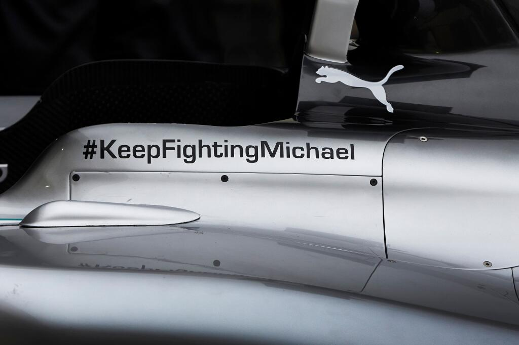 keep fighting michael on the mercedes w05 #KeepFightingMichael Message will be on the Mercedes W05