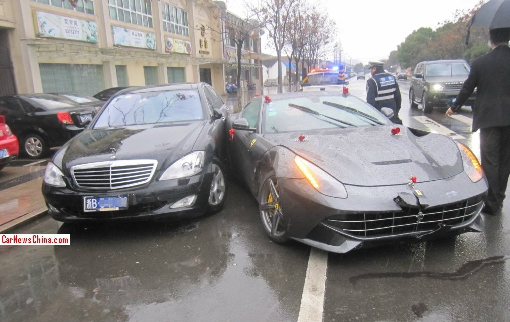 ferrari crashes to a mercedes s class China: Mercedes S Class and Ferrari Crash, Man Fined for Driving Fake Mercedes