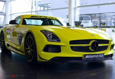 Yellow-Colored Mercedes-Benz SLS AMG Black Series Spotted In AMG Showroom